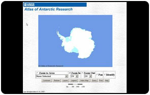 Screen shot of Atlas of Antarctica Research website