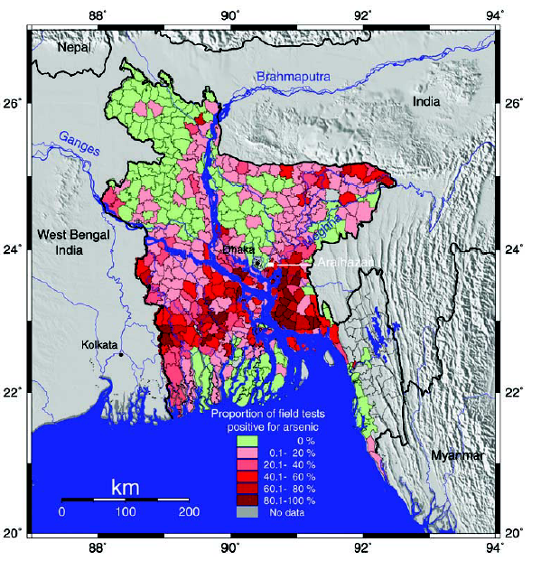 Arsenic Distribution In The Shallow Aquifer In Bangladesh Map Prepared By J W Rosenbloom Unicef